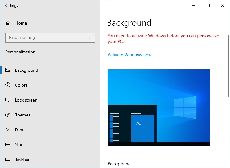 windows 10 personalization setting is greyed out