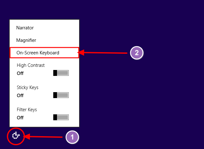 use ease of access to login in windows 8