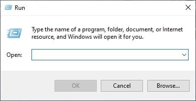 The Run Dialog box in Windows 10