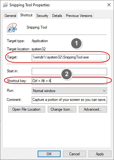 Snipping tool properties