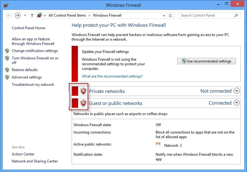 Windows 8 firewall