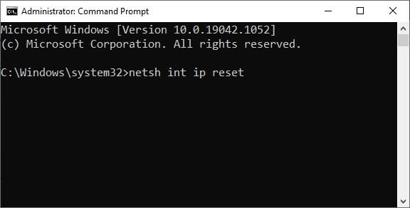 IP reset command in CMD