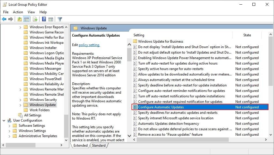 Local group policy editor - updates policy
