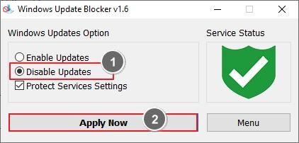 Windows update blocker window